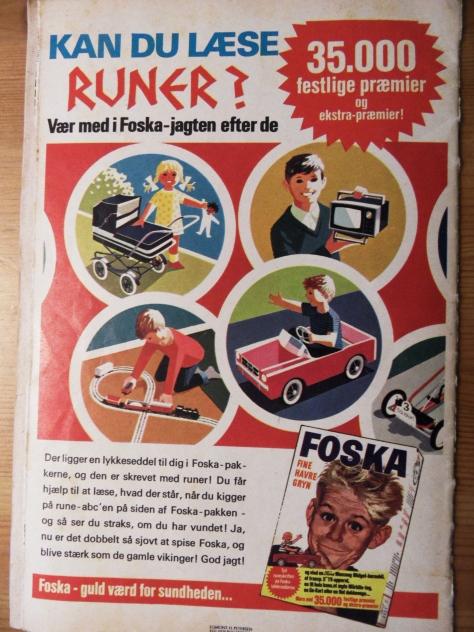 Kan du læse runer? Eller kan du lære det med Foska havregryn! Kan overhovedet ikke huske Foska, det må være fra før min tid. Men jeg er imponeret over de grafiske tegninger!